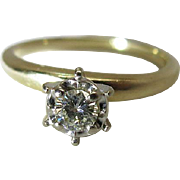 Vintage 14K Yellow Gold Fine .3 Carat Diamond Solitaire Engagement Ring