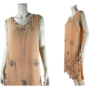 Sparkling 1920's Beaded Art Deco Dress With Rhinestones And Original Silk Underdress