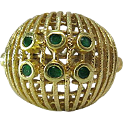 Lovely Vintage 18K Yellow Gold And Emerald Cocktail Ring
