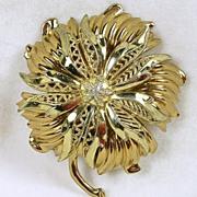 Vintage Floral Filigree Gold Tone Brooch