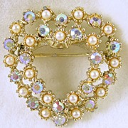 Vintage Simulated Pearl and Aurora Borealis Heart Pin