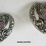 Vintage Antiqued Silver Tone Heart Clip Earrings with Pink Rhinestones