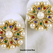 Vintage Simulated Pearl and Gemstone Colored Faceted Rhinestone Clip Earrings