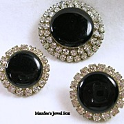 Vintage Demi Parure Earrings and Pin with Clear Rhinestones Sim Onyx