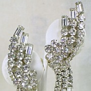 Vintage Round and Baguette Rhinestone Dangle Clip Earrings