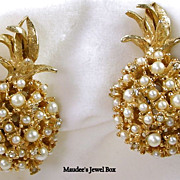 Alice Caviness Vintage Pineapple Simulated Pearls Clip Earrings