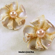Authentic Shell Clip Earring with Pink Simulated Pearls