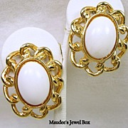 Vintage Oval White Cabochon and Link Chain Clip Earrings