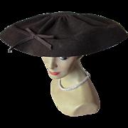 1940 1950 Wide Brim Hat in Chocolate Felt Stewart Company Rockford Illinois