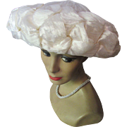 Mid-Century Pouf Hat in Winter White Braided Raffia and Cellophane