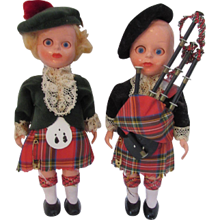 Pair Scottish Plastic Dolls in Full Costume Male & Female Reed Carton Limited Bonnie Brae Doll