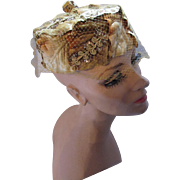 Sparkly Vintage Pillbox Hat in Gold Tone Braid and Sequins