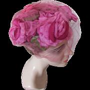 Vintage Half Hat in Bright Peony Pink Roses