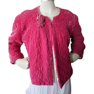 Fantastic Fuchsia Velvet Quilted Evening or Bed Jacket by Ungar