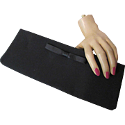 Classic Harry Levine Clutch Purse in Black with Simple Bow