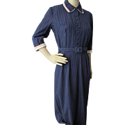Mid-Century Office Dress in Navy Pinstripe with Red & White Collar and Cuffs