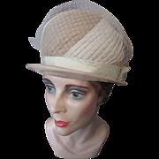 Helmet Style Hat in Swirls of Latte and Cream Organdy 1960's Mid-Century Union Made