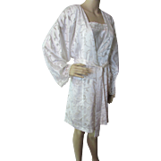 Robe and Gown Negligee Set in White Silky Rayon by Oscar de la Renta
