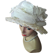 Stunning Vintage Hat with Huge White Roses