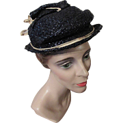 Mid-Century Navy Cellophane Hat with Beige Cord Decoration by Milgrim