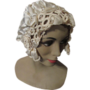 Romantic Flapper Era Boudoir Cap in Cream Silk and Irish Crochet