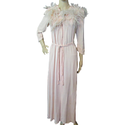 Sophisticated Robe in Peach Rayon with Ostrich Feathers Hollywood Style by Brendelle