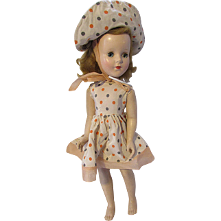 SALE Mid Century Doll Plastic Walker in Rayon Polka Dot Dress and Matching Hat