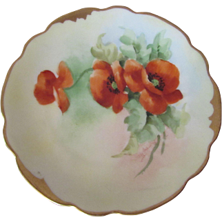 SALE Pickard Hand Painted Poppy Plate Signed 1910 Mark