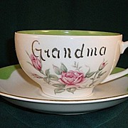 """Grandma's Coffee"" Cup and Saucer by Lefton China"