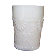 4 Rare Milk Glass Tumblers -  Single Rose, Wild Rose, Florentine