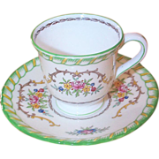 Four Minton China Lady Hamilton Demi-Tasse Cups & Saucers