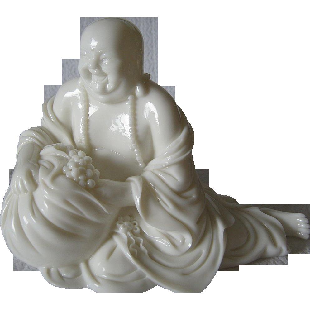 White Chinese  Glass Buddha