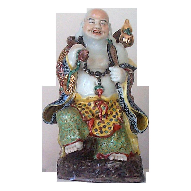 """Signed 15"""" Oriental Buddha Figurine - Enameled Traveling  Laughing  Buddha"""