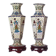Pair Japanese Cloisonne Vases with Female Immortal  He Qiong