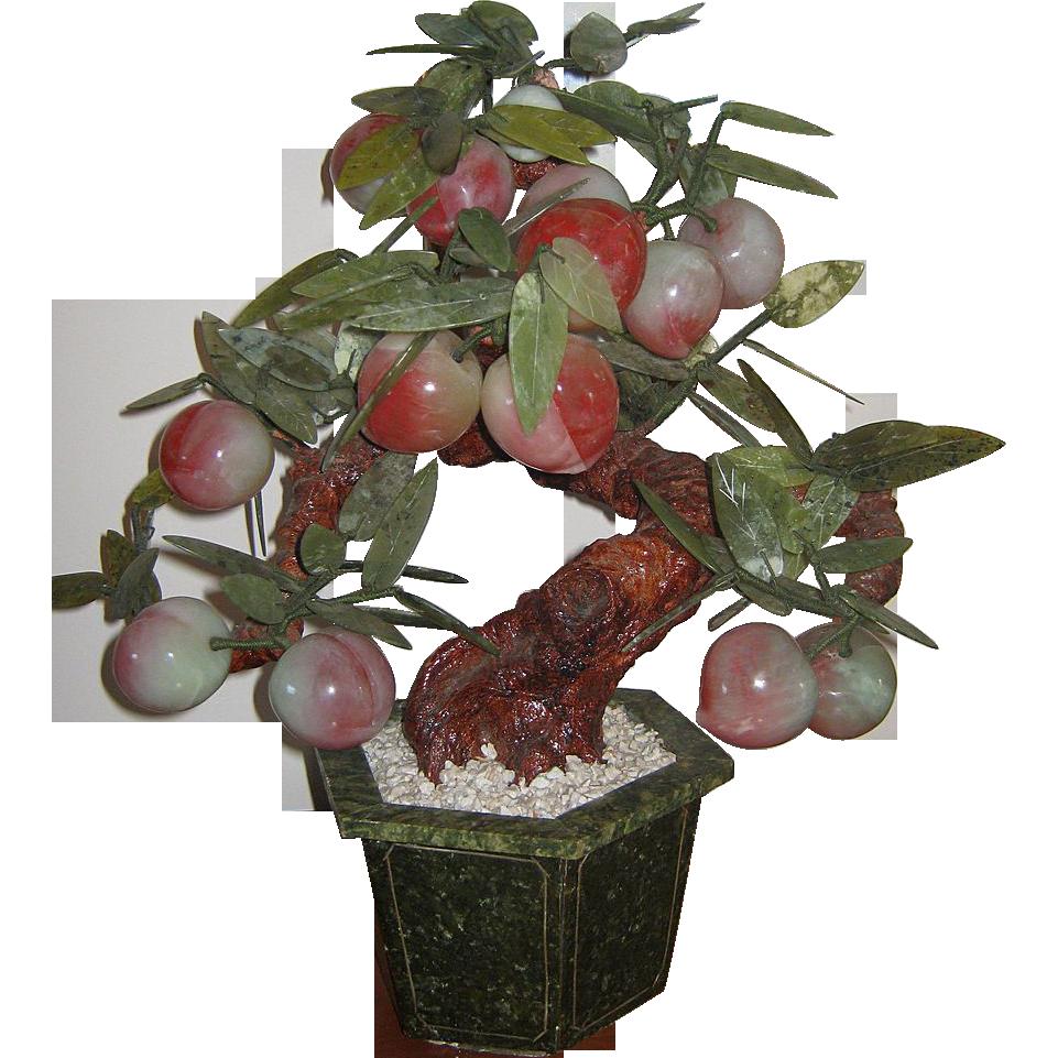 Chinese Hardstone & Jade Plum or Peach Tree Planter- Unusual