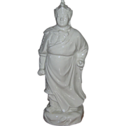 Tall Blanc de Chine Dehua Figurine of Warrior Wei Tuo