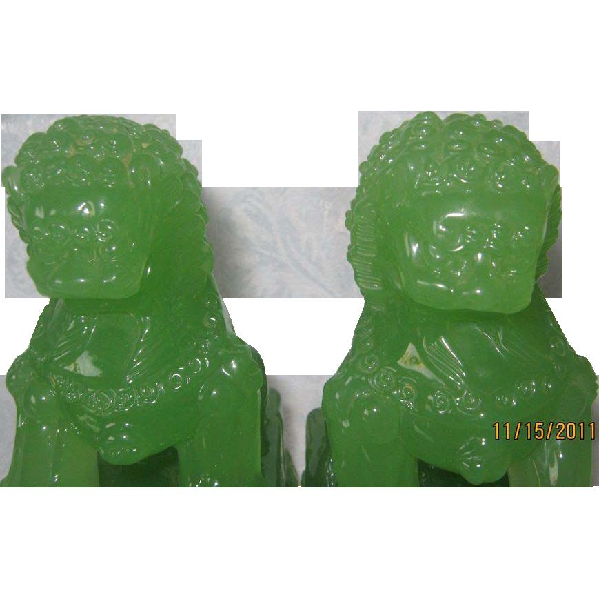 Chinese Peking Glass Foo Dogs in Green Jade Coloring - Pair