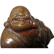 Meiji Japanese  Okimono Bizen  Buddha Hotei Statue