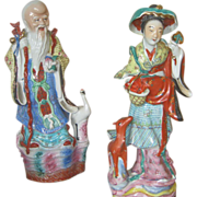 Hand Molded Statues of the Goddess of Longevity Magu and the God of Immortality  Shou Lao