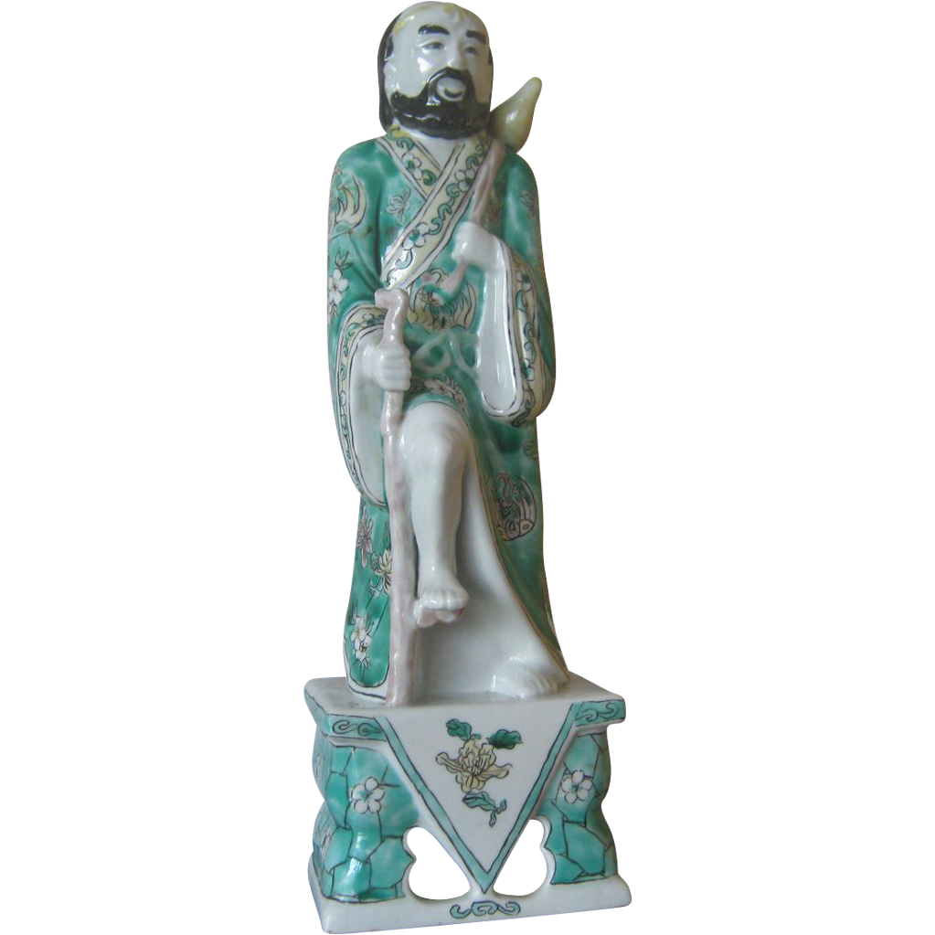 Rare Chinese Famille Verte  Porcelain of one of the 8th Immortals - 12 1/2 inches Tall, Li Tieh Kuai