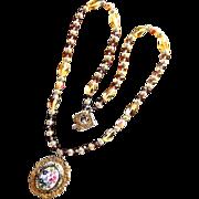 Damascene Victorian Style Porcelain Rose Crystal Necklace