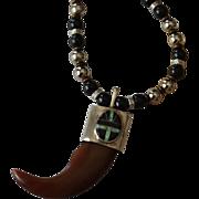 Unisex Artisan Tooth Pendant with Onyx Opal Medallion