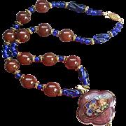 Cloisonné Cobalt Peking & Carnelian Art Glass Medallion Necklace
