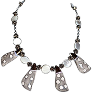 Ornate Etruscan Revival Porcelain / Mother Pearl Necklace
