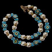 Vintage Murano Beaded Talisman Swirl Turquoise Crystal Necklace
