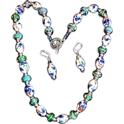 Old World Japanese Painted Porcelain Beads Crystal Necklace