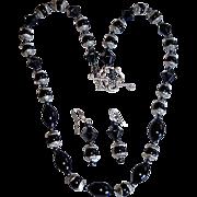 Retro Black Jet Glass  Embossed Mourning Necklace Set