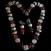 Vintage Lucite / Faux Baroque Pearl Haskellesque Necklace Set