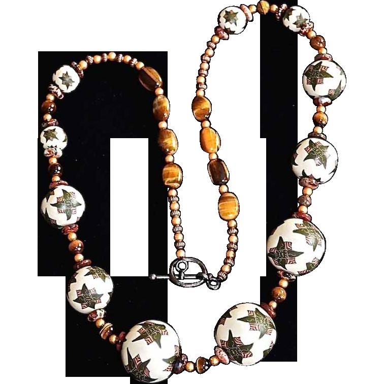 Tribal  Motif Art Wear Jumbo Beaded TigerEye Necklace