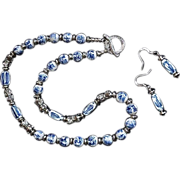 Oriental Blue White Hand-painted Porcelain Silver Bead Set